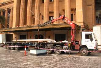 Brisbane Town Hall Delicate Crane Trucks Hire